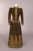 Dark green wool two-piece day dress from the nineteenth century