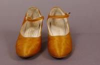 Women's orange satin slippers from the 1920s