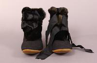 Women's black felt slippers with suede soles from the early twentieth century