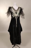 Black silk velvet one piece dress from the early twentieth century