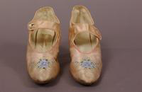 Women's pink satin slippers from the turn of the century