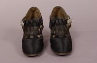 Women's black satin and suede shoes from the 1920s