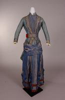 Blue silk taffeta dress from the nineteenth century