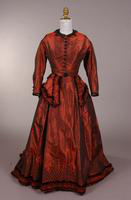 Iridescent maroon taffeta dress from the nineteenth century