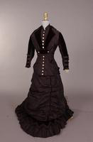 Two piece, dark purple taffeta Women's dress from the nineteenth century