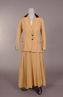Women's light, buff wool twill suit from the early twentieth century
