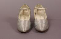 Women's ice blue satin, one strap shoes from the 1920s