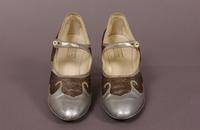 Women's silver leather pumps from the 1920s