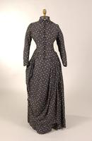 Two piece cotton dress with a black and white print design from the nineteenth century