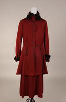 Women's wine color, two piece wool suit from the early twentieth century