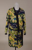 Rayon crepe dress with an Art Deco fabric design from the 1920s