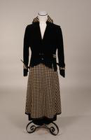 Women's suit with black velvet jacket from the early twentieth century