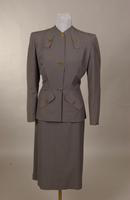 Women's gray-green gabardine suit from the 1940s