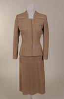 Women's wine, navy blue, and white herringbone check suit from the late 1930s or early 1940s