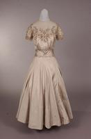 Light grey silk cocktail or formal gown from the late 1940s to mid 1950s