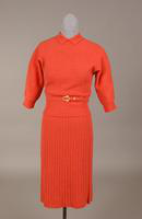 Rose colored two piece wool knit dress from the 1950s