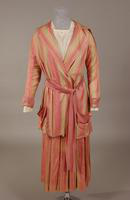 Women's two piece rose and light beige silk suit from the early twentieth century