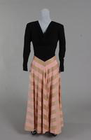 Evening dress with a black crepe bodice and a pink and gold striped taffeta skirt from the 1940s