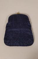 Women's navy-beaded purse from the 1950s