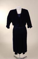 Two piece afternoon dress in dark royal blue velvet from the 1950s