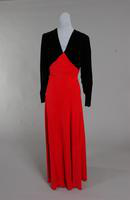 Evening gown with black velvet bodice from the 1940s