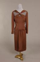 Afternoon dress of brown silk  crepe from the 1940s