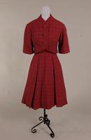 Black and cerise wool plaid dress from the 1950s