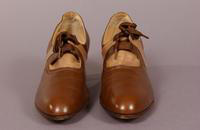Women's brown and beige leather shoes from the 1930s