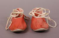 Women's canvas bathing shoes of bright pink cotton from the early twentieth century