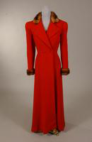Women's red wool coat with mink collar from the 1940s