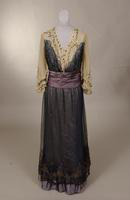 Dress with bodice comprised of three layers of white tulle from the early twentieth century
