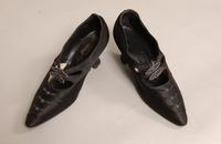 Women's blue/black satin shoes from the early twentieth century