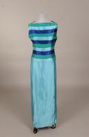 Aqua satin evening gown from the 1960s