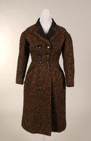 Women's knee-length brown and black wool coat from the 1950s