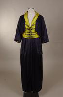 Women's navy and bright green satin suit from the early twentieth century