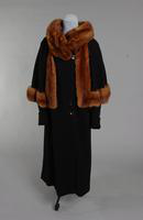 Women's black wool and amber brown mink coat from the 1930s