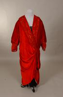 Women's red velvet evening coat lined with white satin from the early twentieth century