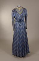 Full length blue and white polka dot dress from the early twentieth century