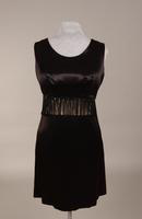 Black satin cocktail, mini dress from the 1960s