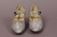Women's silver brocade strap slippers from the early twentieth century