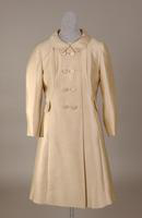 Women's beige silk shantung ensemble from the 1960s