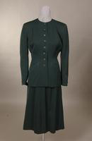 Women's forest green, wool gabardine suit from the 1940s
