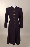 Women's navy blue wool coat from the late 1930s to mid 1940s