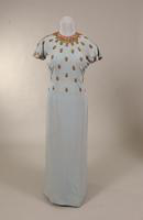 Muted turquoise crepe evening gown from the late 1930s or early 1940s