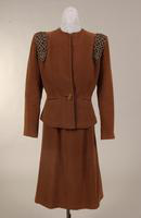Women's two piece, deep taupe wool velour suit from the 1940s