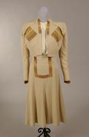 Women's two piece beige shantung suit from the 1940s