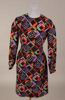 Wool challis black, green, purple, red and white geometric print dress from the 1960s or 70s