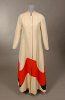 Women's off-white, wool twill evening coat from the 1960s or 70s