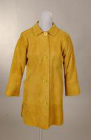 Women's single breasted, gold suede coat from the 1960s