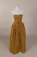 Heavy gold moire silk strapless evening dress from the 1950s